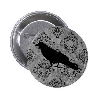 Cuervo elegante de Halloween Pin Redondo De 2 Pulgadas