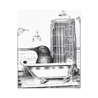 Cuervo en bañera del vintage impresión en lona