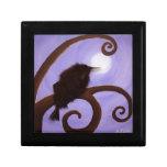 Cuervo en claro de luna cajas de recuerdo