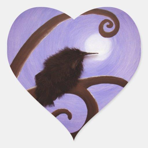 Cuervo en claro de luna colcomanias corazon personalizadas