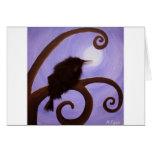 Cuervo en claro de luna tarjeta de felicitación