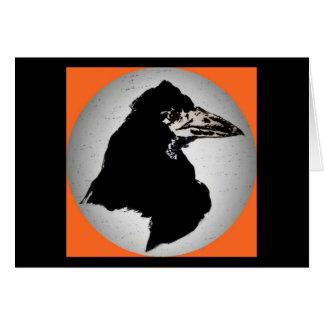 Cuervo en el naranja tarjeta de felicitación