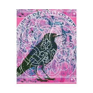 Cuervo en el Runestone Impresión En Lona Estirada