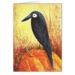 Cuervo en la calabaza tarjeta