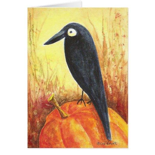 Cuervo en la calabaza tarjeta de felicitación