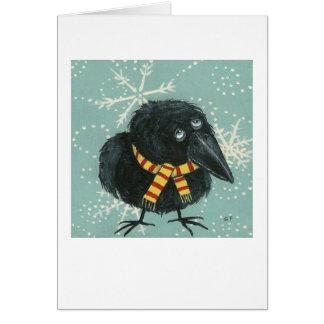 Cuervo en la nieve tarjeta de felicitación