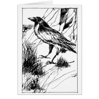 Cuervo en la tarjeta doblada acantilado