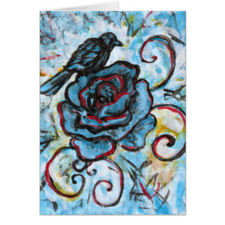 Cuervo en un color de rosa azul, tarjeta de felici