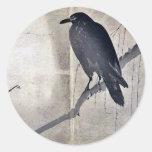 Cuervo en una rama Ukiyoe del sauce Pegatinas Redondas