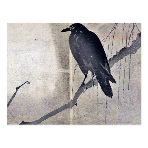 Cuervo en una rama Ukiyoe del sauce Postal