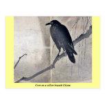 Cuervo en una rama Ukiyoe del sauce Tarjetas Postales