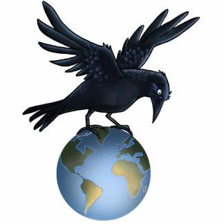 Cuervo encima del mundo - escultura de la foto esculturas fotográficas