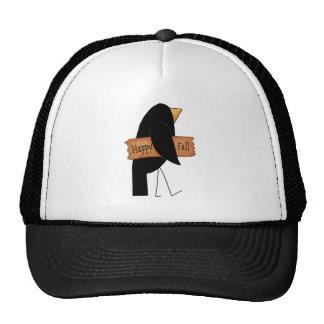 cuervo feliz del negro de la caída gorro de camionero