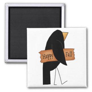 cuervo feliz del negro de la caída imán cuadrado