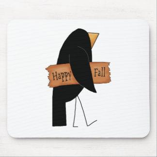 cuervo feliz del negro de la caída mousepads
