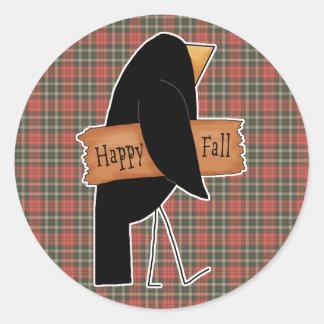 cuervo feliz del negro de la caída pegatina redonda