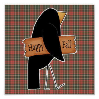 cuervo feliz del negro de la caída póster