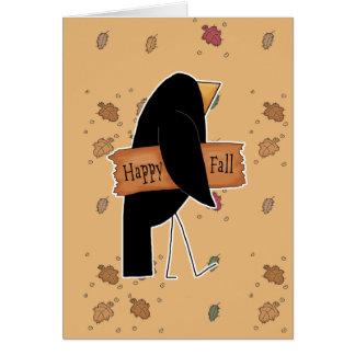 cuervo feliz del negro de la caída tarjeta de felicitación