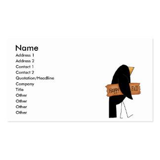 cuervo feliz del negro de la caída tarjetas de visita