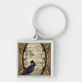 Cuervo gótico del boda del vintage divertido llavero cuadrado plateado