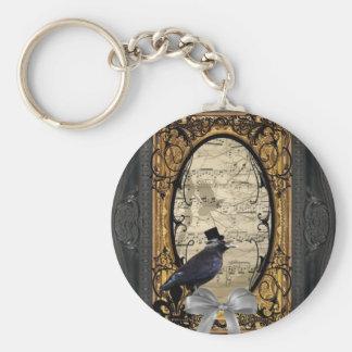 Cuervo gótico del boda del vintage divertido llavero redondo tipo pin