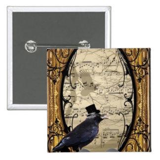 Cuervo gótico del boda del vintage divertido pin