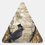 Cuervo gótico del steampunk del vintage divertido calcomanías trianguloes personalizadas