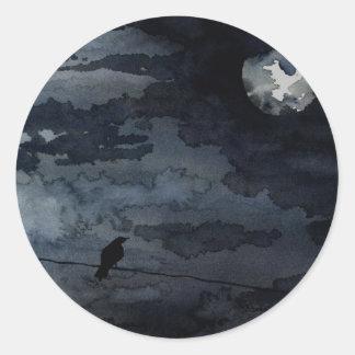 Cuervo iluminado por la luna - arte de la Luna Lle Pegatinas