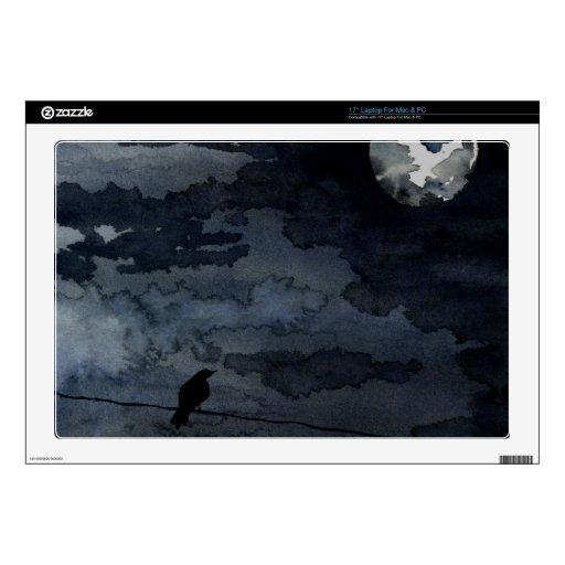 Cuervo iluminado por la luna - arte de la Luna Lle Portátil Calcomanías