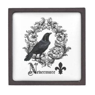 cuervo moderno de Halloween del negro del vintage Caja De Recuerdo De Calidad