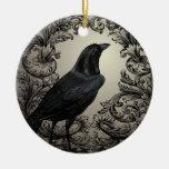 cuervo moderno de Halloween del vintage Adorno De Navidad