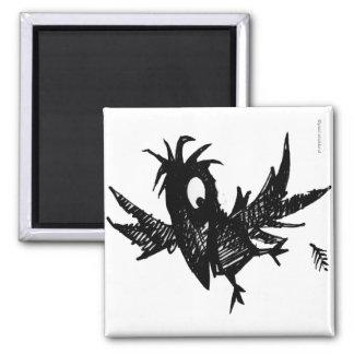 Cuervo negro divertido imán cuadrado