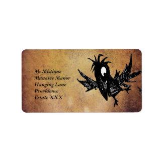 Cuervo negro etiquetas de dirección