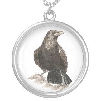 Cuervo negro pájaro original de la acuarela grímpola