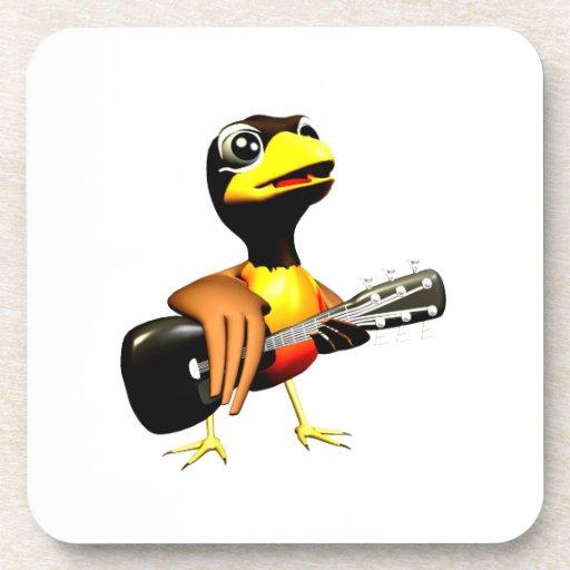 Cuervo negro que juega el gráfico de la guitarra posavasos de bebida