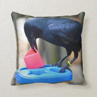 cuervo negro que pone forma en pájaro elegante del cojin