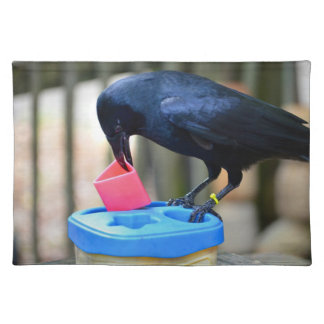 cuervo negro que pone forma en pájaro elegante del mantel individual
