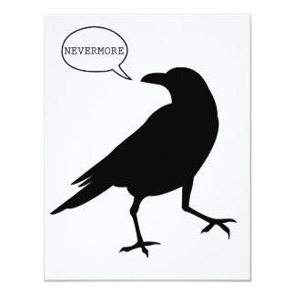 Cuervo nunca más invitación 10,8 x 13,9 cm