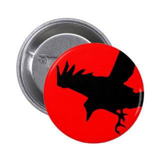 Cuervo oscuro pin redondo de 2 pulgadas
