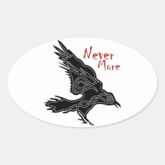 Cuervo Pegatina Ovalada