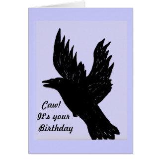 Cuervo que dice el caw es su cumpleaños felicitación