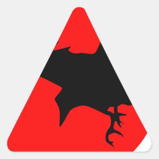 Cuervo rojo de Sun Pegatina De Triangulo Personalizadas
