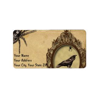 Cuervo y araña fantasmagóricos Halloween del Etiqueta De Dirección