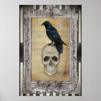 Cuervo y cráneo Halloween Póster