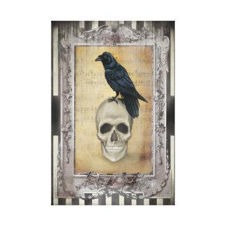 Cuervo y cráneo impresión en lona estirada