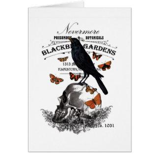 cuervo y cráneo modernos de Halloween del vintage Tarjeta De Felicitación