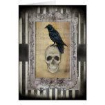 Cuervo y cráneo tarjeta