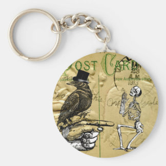 Cuervo y esqueleto llavero redondo tipo pin