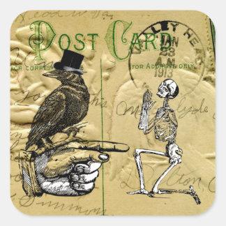 Cuervo y esqueleto pegatina cuadrada
