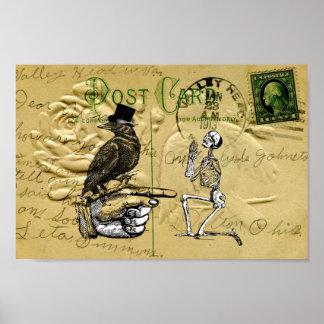 Cuervo y esqueleto póster